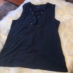 EUC Navy Ann Taylor Factory Tank Top with ties